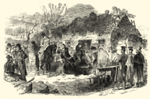 Illustration of starving people
