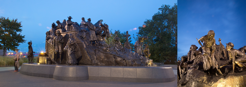Photos of the memorial at dusk