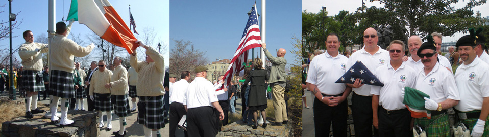 Photos of the flag raising at the memorial