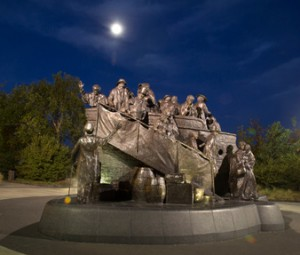 Nighttime image of the memorial